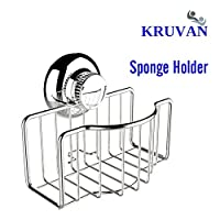 STAINLESS STEEL SPONGE HOLDER FOR KITCHEN SINK WITH NON-SLIP SUCTION CUP POWER. BEST FOR SPONGE ORGANIZATION - Latest product to KRUVAN product range