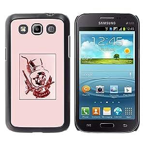 GOODTHINGS Funda Imagen Diseño Carcasa Tapa Trasera Negro Cover Skin Case para Samsung Galaxy Win I8550 I8552 Grand Quattro - rojo rosa sombrero de copa presidente revólver