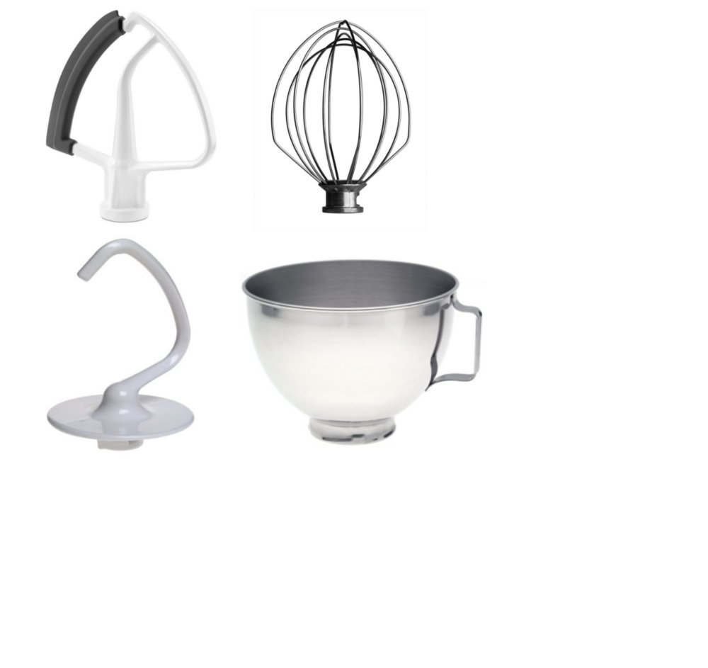 KitchenAid Replacement Dough Hook, Wire Whip, Beater and 4.5 QT mixing bowl for KitchenAid K45 Mixers