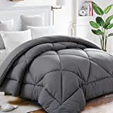 Oversized King Down Comforter King Comforter Soft Quilted Down Alternative Duvet Insert with Corner Tabs Summer Cooling 2100 Series,Luxury Fluffy Reversible Hotel Collection,Hypoallergenic for All Season,Grey,90 x 102 inches