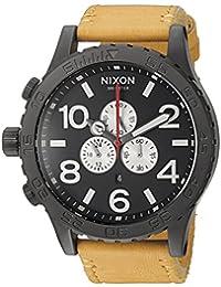 Nixon Men's '51-30 Chrono' Quartz Metal and Leather Automatic Watch, Color:Orange (Model: A1242448-00)