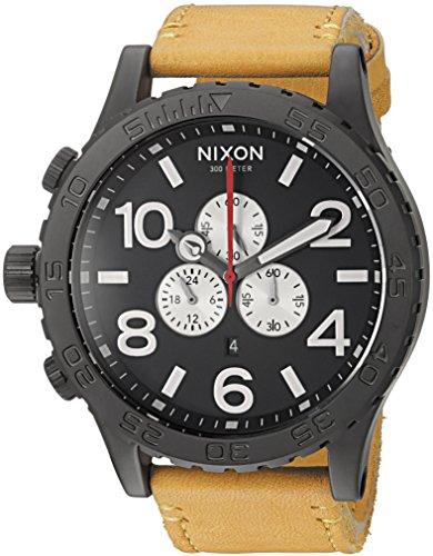Nixon Men's '51-30 Chrono' Quartz Metal and Leather Watch, Color:Orange (Model: A1242448-00)