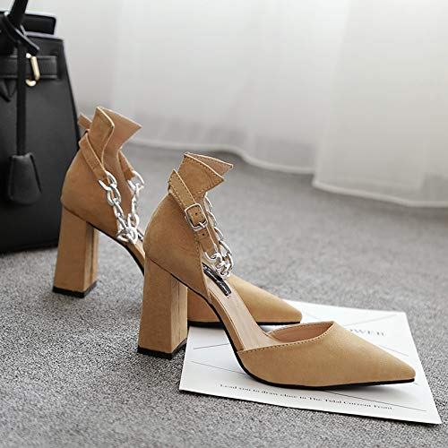 Yukun Khaki Female High Word With Single Hollow Female Mouth Pointed alti Metal Shallow Shoes Buckle Tacchi Heels Chain Thick UnavrUA