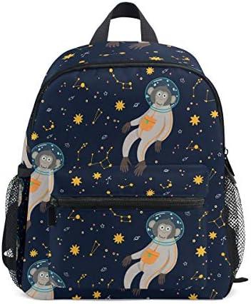 かわいい猿宇宙飛行士幼児バックパックブックバッグミニショルダーバッグ1-6年旅行男の子女の子子供用チェストストラップホイッスル
