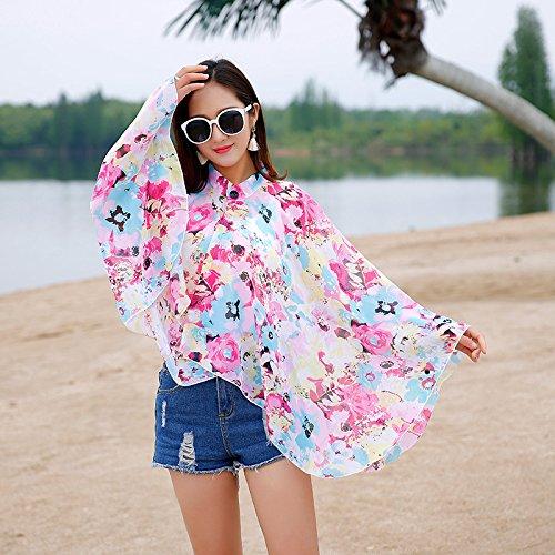 vestiti Cutogain scialle bikini cardigan floreale Cape Up sciarpa protezione cover stampato Sun estate chiffon spiaggia rZq6xS4r