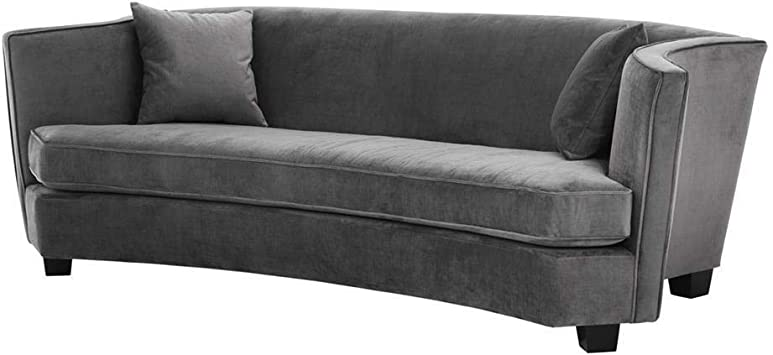 Amazon Com Gray Curved Sofa Eichholtz Giulietta Elegant Arched Granite Gray Couch With 2 Accent Cushions Modern Luxury Furniture Kitchen Dining