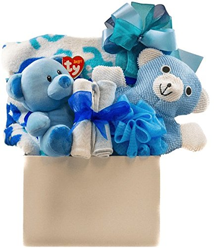 Baby Boy Snuggles Gift Basket with Blanket, Bath Accessory, Washcloths and Teddy Pellatt Cornucopia