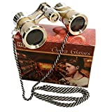 HQRP 3 x 25 Opera Glasses Golden with Crystal Clear Optic (CCO) and Silver Trim w/Necklace Chain by
