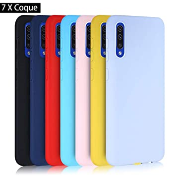 Meeter 7 × Funda Samsung Galaxy A50, Carcasa Fina TPU Flexible Cover para Samsung Galaxy A50 (Negro+ Rojo+ Azul Oscuro + Rosa + Lavanda + Amarillo + ...