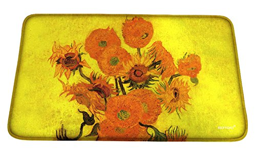 Meffort Inc Printed Soft Floor Door Mat Carpet/Area Entry Rugs for Kitchen Dining Living Hallway Bathroom - Van Gogh Sunflowers, Large Size by Meffort Inc