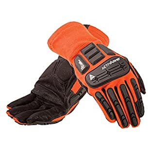 Ansell ActivArmr 97-200 Digital Goat Skin Leather Flame Resistant/Impact Protection HVAC Glove, Abrasion/Cut Resistant, Size 9 (Pack of 1 Pair)