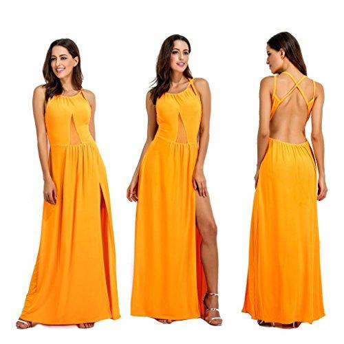 Backless Dresses Halter Maxi Strappy Women Slit Mesh Clothink Sleeveless Orange 5wqOOv