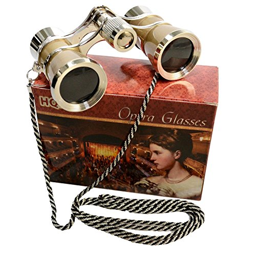 3 x 25 Opera Glasses Golden with Crystal Clear Optic (CCO) and Silver Trim w/Necklace Chain by HQRP