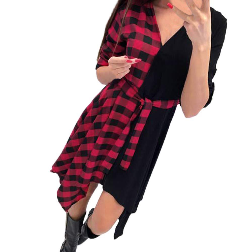 iHENGH Damen Fr/ühling Sommer Rock Bequem L/ässig Mode Kleider Frauen R/öcke V-Ausschnitt Plaid figurbetontes Kleid Langarm Minikleider