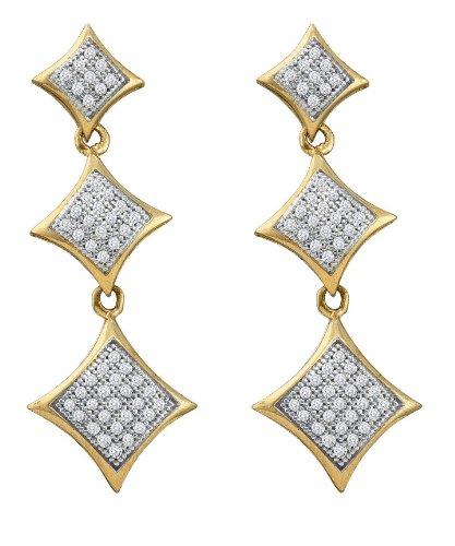 10 K Gelbgold 0.30 Dwt Micro Pave Diamant Ohrringe - höherer Feingehalt als 9ct Gold