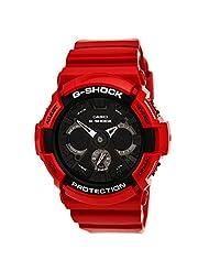 Casio GA201RD-4A Men's G-Shock World Time Ana-Digi Black Dial Red Resin Strap Alarm Dive Watch