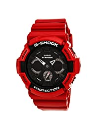Casio GA201RD-4A Men's G-Shock World Time Ana-Digi Black Dial Red Resin Strap Alarm Dive Watch