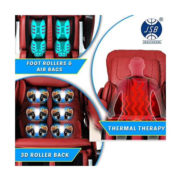 51ka keDNPL JSB MZ15 Full Body Massage Chair with Powerful 3D Back & Leg Massage (Red)