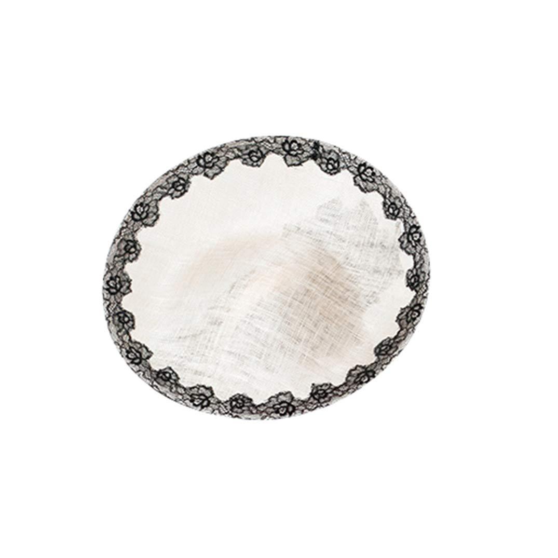 KRASTAL Fascinators Hats for Weddings Pillbox Hat Women Dress Church Sinamay Fedora Off-White