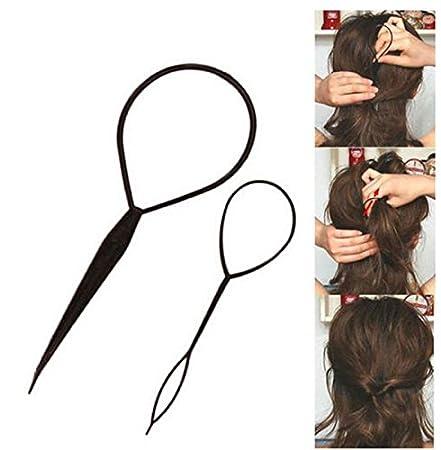 edealing 2SETS Ponytail Creator Plastic Loop Styling Tools Black Topsy Pony  Tail Hair Braid