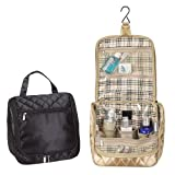 Black Cosmetics Plaid Travel Overnight Hanging Toiletry Bag, Bags Central