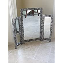 Silver Embossed Triple Tri-Fold Dressing Table Mirror by French Furniture