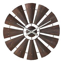 BLACK FOREST DECOR Windmill Metal Cabin Clock