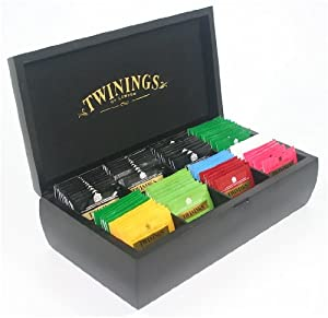 twinings luxury wooden black finish tea chest 8 compartment with 80 twinings tea bags box. Black Bedroom Furniture Sets. Home Design Ideas