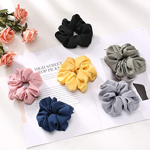 Scrunchies, Fnova 6 Pack Flower Chiffon Scrunchies for Hair, Big Hair Ties Ponytail Holders with Bow for Women Girls, 6 Solid Colors