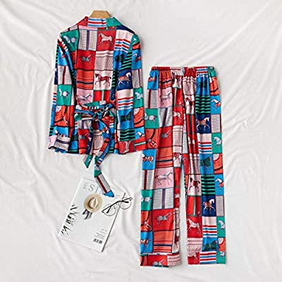 Pijamas Saten Mujer Manga Larga Set,Conjunto De Pijama Para Mujer Camisas Y Pantalones De Manga Larga De Satén De Seda 2 Piezas De Impresión General De Moda Conjunto De Pijamas De Pijama