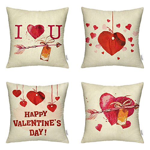 """4 Packs Valentine's Day Square Pillowcases - """"I Love You"""" 18 X 18 Inch Cotton Linen Sofa & Bed Home Decor Gift for Your Beloved"""