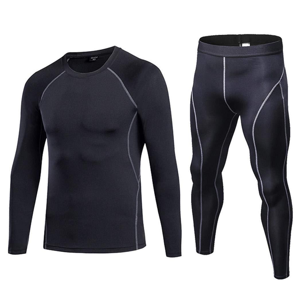 Teaio Herren Rundhals Langarm T-Shirt Ganzkörperansicht Strumpfhosen Compression Sportwear Set Bekleidungssets
