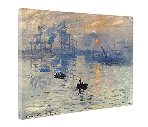 Niwo Art (TM) - Impression Sunrise, by Claude Monet - Oil painting Reproductions - Giclee Canvas Prints Wall Art for Home Decor, Stretched and Framed Ready to (Impression Sunrise Blue Poster)