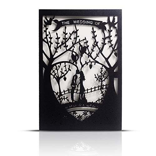 "Laser Cut Printable Wedding Invitation Kits – 25pcs 4.7"" x 7"" Black Love Tree Wedding Invitations Cards with Printable Paper and Envelopes for Engagement Marriage Bridal Shower Anniversary"