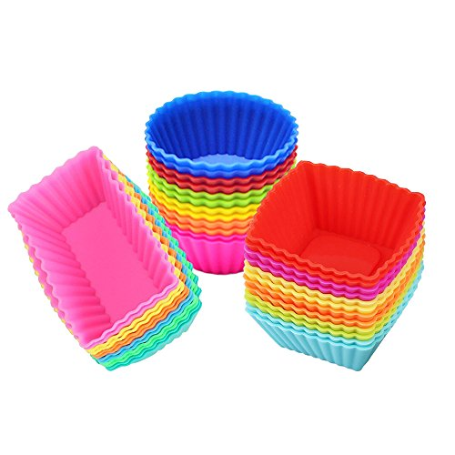 Square Silicone Baking Cups - Silicone Cupcake Muffin Baking Cups Liners 36 Pack Reusable Non-Stick Cake Molds Sets