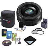 Panasonic 20mm f/1.7 Lumix II Aspherical Lens Micro Four Thirds Lens Mount Black - Bundle Lens Case, 46mm Filter Kit, Lens Wrap(15x15), Cleaning Kit, Pro Software Package