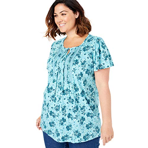 (Woman Within Women's Plus Size Pintucked Lace-Trim Tee - Deep Teal Spray Rose, 18/20)