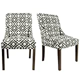 Sole Designs The Marie Collection Contemporary Style Patterned Fabric Upholstered Double Dow Dining Chairs with Nailhead Trim (Set of 2), Black and White Review