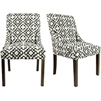 Sole Designs Marylin Collection Contemporary Accent Upholstered Dining Room Side Chairs With Geometric Design, Black/White, Set of 2