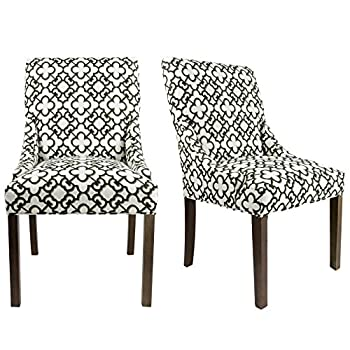 Sole Designs The Marie Collection Contemporary Style Patterned Fabric Upholstered Double Dow Dining Chairs with Nailhead Trim (Set of 2), Black and White