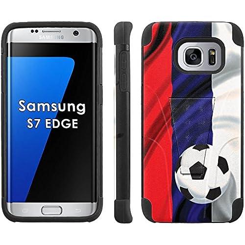 Samsung Galaxy S7 Edge /GS7 EDGE Phone Cover, Russia Flag with Soccer Ball - Black Armor Kick Flip Grip Phone Case for Samsung Galaxy S7 Edge /GS7 EDGE Sales