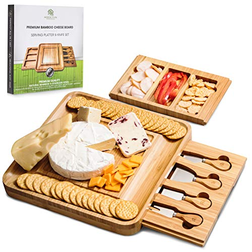 Premium Bamboo Cheese Board & Stainless Steel Knife Set - 13 x 13 x 1.4 - Premium Cutting & Serving Tray with Removable Drawers for Knife Storage & Extra Charcuterie Space - Gift Set for Home (With Cheese Knives Board Inside)