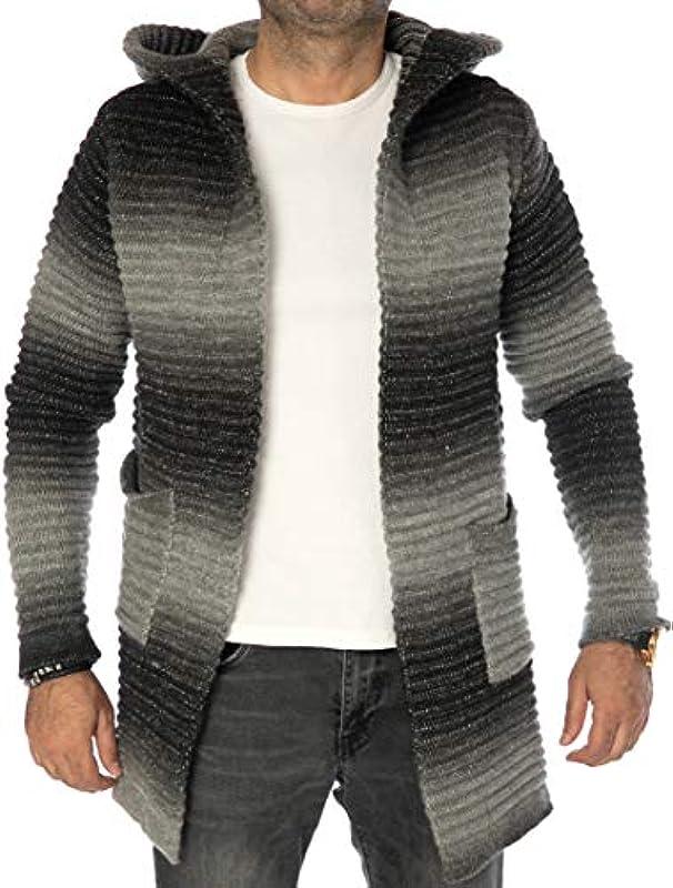 CARISMA Casual męska kurtka z dzianiny w paski, kardigan, długa z kapturem i kieszeniami bocznymi 7735: Odzież