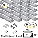 hunhun 100-Pack 3.3ft/1Meter U Shape LED Aluminum Channel System With milky Cover, End Caps and Mounting Clips, Aluminum Profile for LED Strip Light Installations, Very Easy Installation