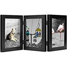 Golden State Art, Decorative Hinged Table Desk Top Picture Photo Frame, 3 Vertical Openings, 5x7 inches with Real Glass (5x7 Triple, Black)