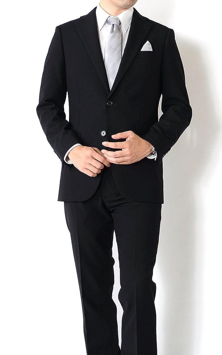 (アウトレットファクトリー)OUTLET FACTORY ブラック フォーマルスーツ 礼服 冠婚葬祭 WOOL100% メンズスーツ スリムモデルスーツ Y体 A体 AB体 BB体 2ツボタンビジネススーツ B07547KWRH Y4