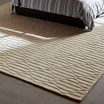 Rivet Geometric Criss-Cross Woven Wool Area Rug, 8' x 10', Cream