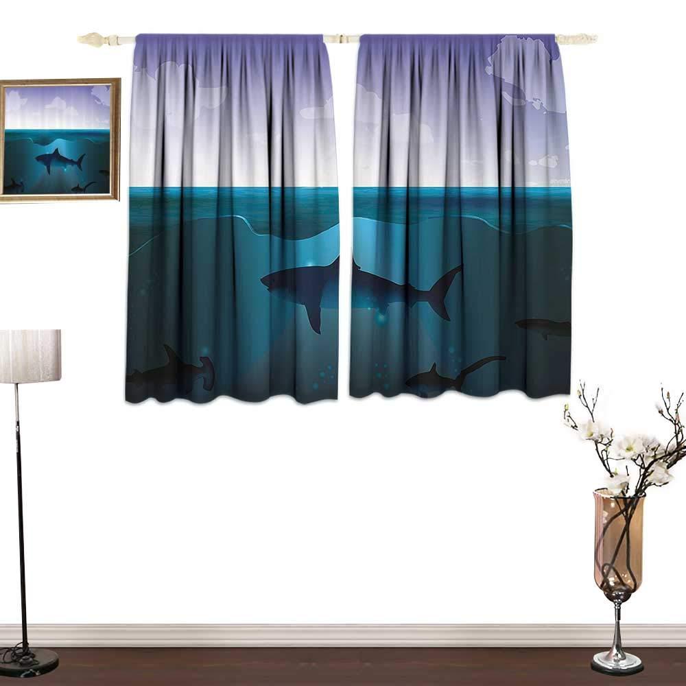 Jinguizi UnderwaterPrinted curtainWild Sharks Swimming in Sea Atlantic Ocean Peace Clouds Marine DesignMildew-Proof Polyester Fabric W55 xL39 Violet Petrol Blue