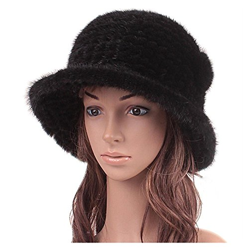 Handmade Russian Women's Real Knitted Mink Fur Fedoras Hats Female Warm Caps Color:as picture by Baoer Fedoras