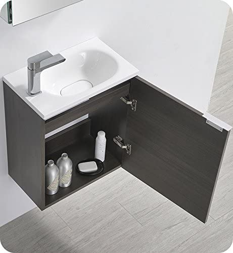 Fresca Valencia 20″ Gray Oak Wall Hung Modern Bathroom Vanity